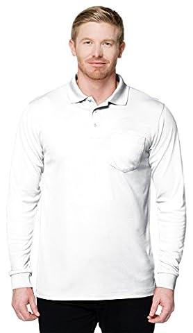 Tri-Mountain Performance K020PLS Long Sleeve Pocketed Polo - White - XL