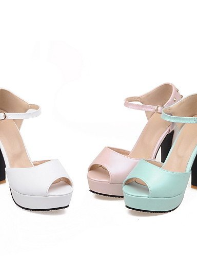 LFNLYX Zapatos de mujer-Tacón Robusto-Tacones / Punta Abierta-Sandalias-Casual-Semicuero-Azul / Rosa / Blanco Pink