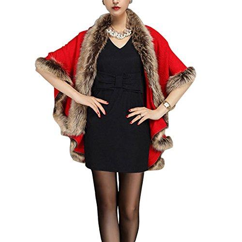 Renard KAXIDY Luxueux de Fourrure Femmes avec Chales Capes Faux Manteaux Rouge Ponchos pour et ZvaqZ
