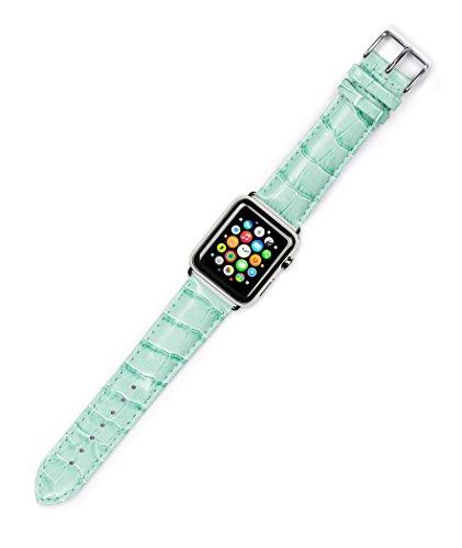 apple-watch-band-crocodile-grain-watch-band-light-green-fits-38mm-apple-watch-silver-adapters