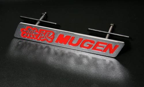 3D Mugen Racing Grill Grille Emblem Red and Silver Universal Fit All Vehicles