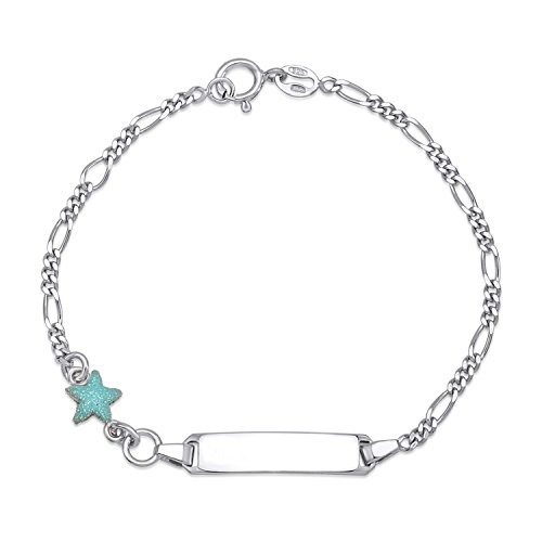 (UNICORNJ Childrens Sterling Silver 925 ID Bracelet Figaro Chain Cute Star with Light Blue Enamel)