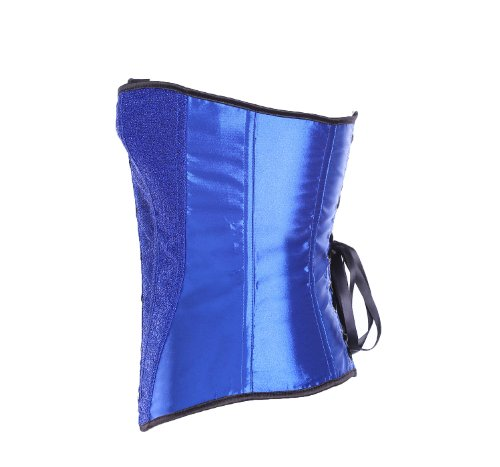 ZAMME mujers Jacquard Stripe Sexy Sin espinas Corsé Con tanga Azul