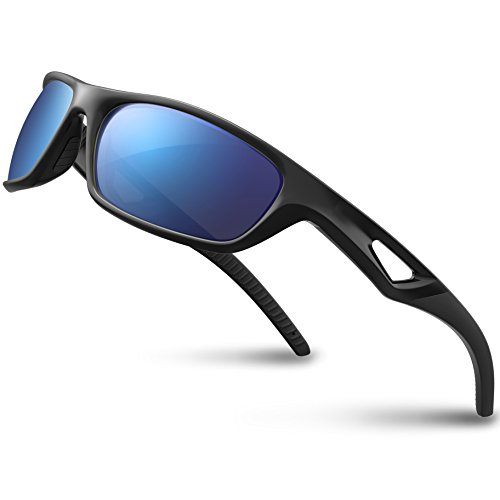 RIVBOS Polarized Sports Sunglasses Driving Glasses for Men Women Tr90 Unbreakable Frame for Cycling Baseball Running Rb831 (Black&Black Mirror ()
