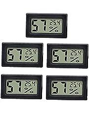Trädgård Utomhus Termometer Rum Termometer Hygrometer Mini Digital Fuktmätare Gauge Inomhus Svart För Baby Kontor Växthus 5st