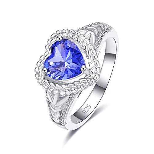 Humasol 925 Sterling Silver Filled Cubic Zirconia Tanzanite Promise Proposal Engagement Wedding Rings for Women Girl Size - Sterling Emerald 7x5