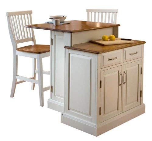 (Home Styles  Woodbridge 2-Tier Kitchen Island with 2 Stool, White Finish)