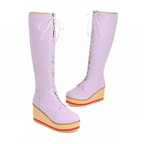 Charm Foot Fashion Womens Lace up Platform Wedge Knee High Long Boots Purple 72TfZXaF
