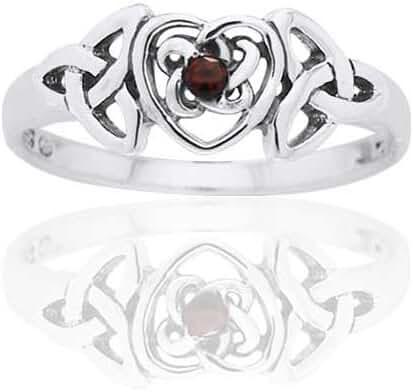 January Birthstone Ring - Sterling Silver Garnet Celtic Trinity Knot Heart(Sizes 4,5,6,7,8,9,10)