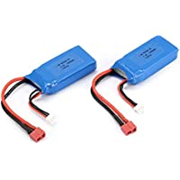 LovelystMXaar 2pcs 7.4V 1500mAh 25C 2S Lipo Battery T Plug Rechargeable For Wltoys 12423 12428 RC Car Airplane Drone Helicopter Model