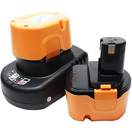 2-Pack Replacement Ryobi 12v Battery (1300mAh,NICD) + Universal Charger for Ryobi Power Tool Battery and Charger - Compatible with Ryobi 1400652, Ryobi CCD1201, Ryobi CHD1201, Ryobi CHD1202