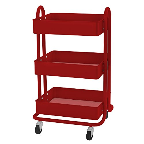 (ECR4Kids 3-Tier Metal Rolling Utility Cart - Heavy Duty Mobile Storage Organizer, Red)