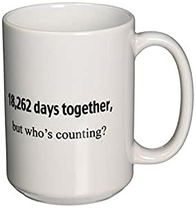 3dRose 18, 262 Days Together, But Whose Counting Happy 50th Anniversary Ceramic Mug, 15-Ounce