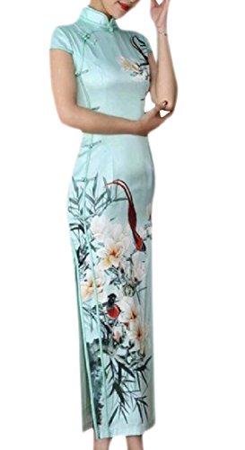 Mogogo Femmes Imprimer Col Montant À Manches Courtes Cheongsam Soie Longue Fendue Mince Robe De Soirée Chinoise Pattern24