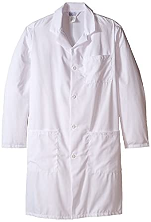 Worklon 3492 Polyester/Cotton Unisex Lab Coat with Button Front Closure, Large, White