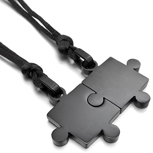 INBLUE Men,Women's 2 PCS Stainless Steel Pendant Necklace Black Jigsaw Puzzle Love Couple Adjustable 20~22 Inch Chain (Bracelet 50 Cent)