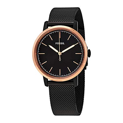 (Fossil Neely Three-Hand Black Stainless Steel Watch (Black))
