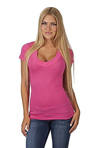 Hollywood Star Fashion Women's Deep V-Neck Short-Sleeve Shirt (Medium, Hot - Fashion Hot Hollywood