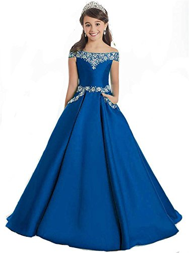 Oudy Girls Off The Shoulder A Line Pageant Dresses With Pockets Formal Dresses 12 US Royal Blue