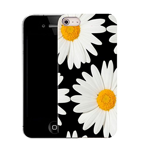 Mobile Case Mate IPhone 5S clip on Silicone Coque couverture case cover Pare-chocs + STYLET - large daisy pattern (SILICON)