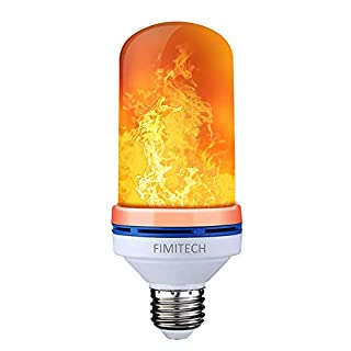 FIMITECH Flame Bulb, LED Flame Effect Fire Light Bulbs, 4 Modes, E26 Standard Base, 108pcs LED Flame Light, Atmosphere Lighting, Decorative Light for Halloween, and Party (1Pack)