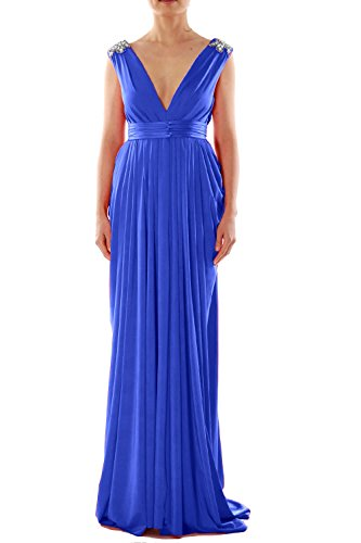 MACloth Women V Neck Long Jersey Prom Dress Wedding Party Formal Evening Gown Azul Real
