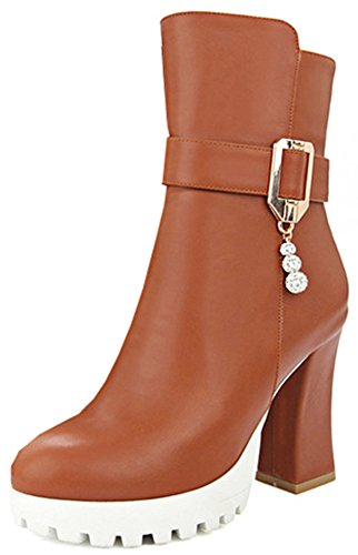 Easemax Women's Trendy High Chunky Heeled Round Toe Zip Up Platform Ankle High Boots Yellow S1BuCHPT