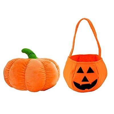 MOLLYCOOCLE Halloween Pumpkin Pillow Doll Plush Toy Soft Stuffed Doll with Cute Pumpkin Candy Handbag
