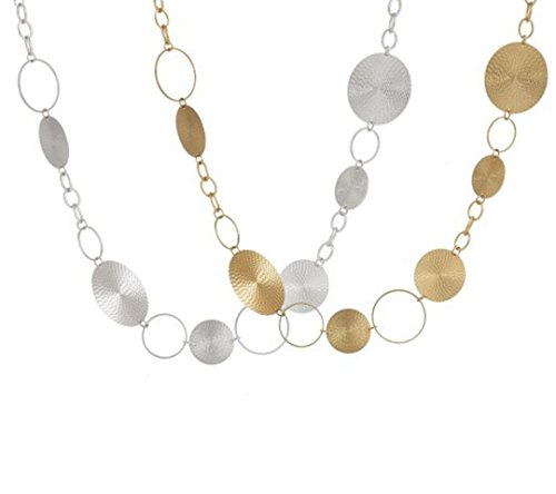 New Set of 2 Textured Disc Fashion Trend Gold & Silver Necklaces (Textured Disc Necklace)