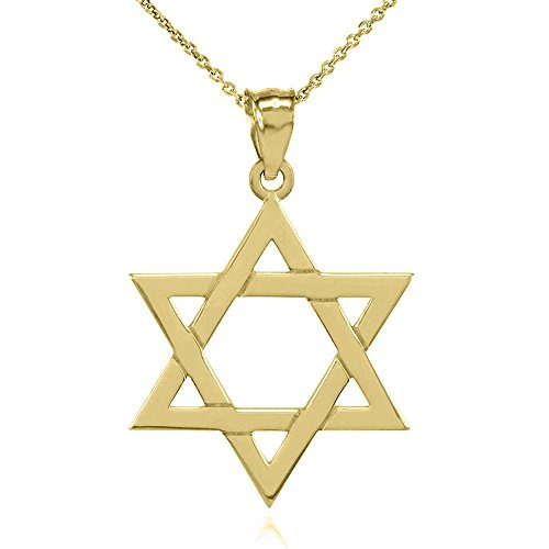 Solid 14k Yellow Gold Traditional Jewish Star of David Charm Pendant Necklace (Medium), 22