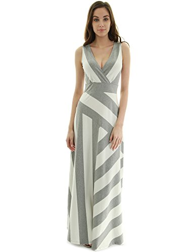 PattyBoutik Women Crossover V Neck Striped Maxi Dress (Heather Gray and Ivory Medium) - Grey Crossover