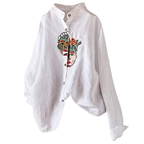 Chinese Traditional Shirts Button Down Tops for Women Flexible Long-Sleeve Portrait-Embroideried Oriental Casual Blouses White (Chinese Traditional Women Vest)