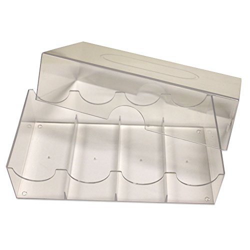 Brybelly Acrylic Poker Chip Tray with Lid - Holds 100 Chips (4 x 25)