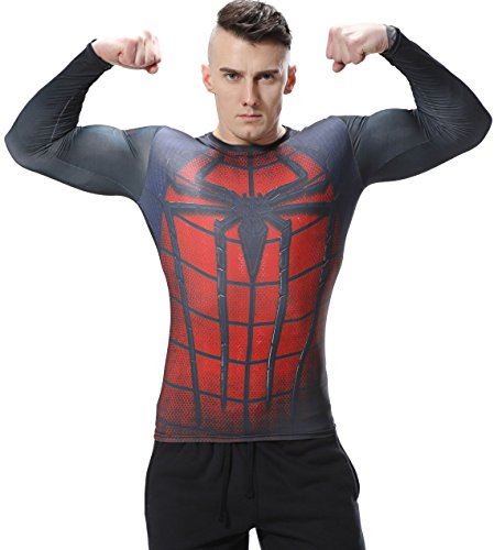 Red Plume Men's Film Super-Hero Series Compression Sports Shirt Skin Running Long Sleeve Tee (M, Spider B)