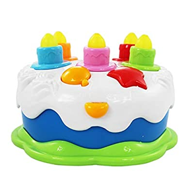 TOYANDONA Kids Birthday Cake Toy with Lighting Candles and Music Toddler Role Play Toys Kitchen Pretend Play Food Set for Boys Girls Children: Toys & Games