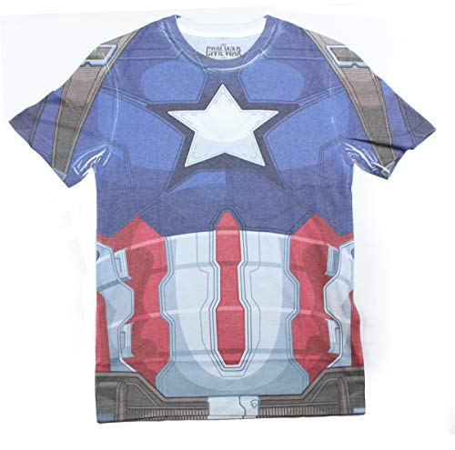Hybrid Captain America Civil War Costume Men's t-Shirt (XL, Blue)