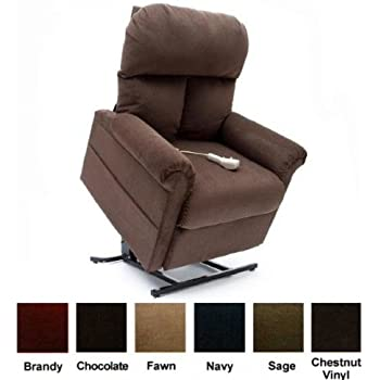 Mega Motion Power Easy Comfort Lift Chair Lifting Recliner LC-100 Infinite Position Rising Electric Chaise Lounger - Chocolate Brown Color Fabric