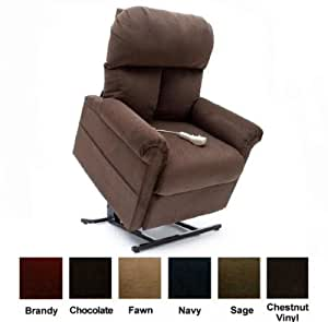 Mega Motion Power Easy Comfort Lift Chair Lifting Recliner LC-100 with Heat and Massage Infinite Position Rising Electric Chaise Lounger - Chocolate Brown Color Fabric + Inside the Home Delivery, Setup and Box Removal