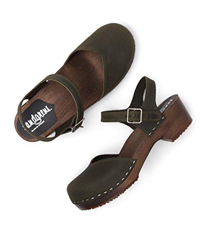 Base Clog Wooden Saragasso Olive Women Heel Low Sandgrens for Dark Swedish Sandals xS1fATPqw