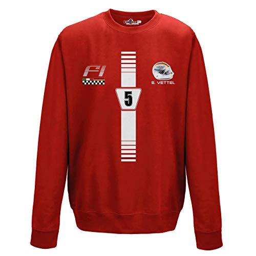 Kiarenzafd Black Uno Sebastian Felpa Girocollo 1 Vettel Automobilismo Prix 5 Formula Grand rxrqwPnC