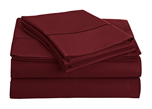 Classic Contemporary Bedroom (Chateau Home Collection 800-Thread-Count Egyptian Cotton Deep Pocket Sateen Weave Sheet Set (QUEEN, Burgundy))