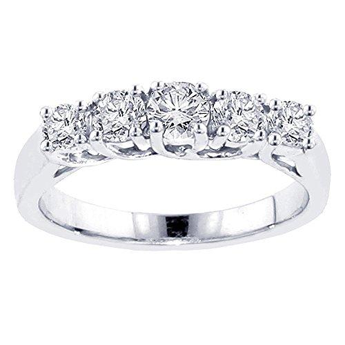 - VIP Jewelry Art 1.00 CT TW Braided Prong Set Round Diamond Anniversary Wedding Ring in 14k White Gold - Size 12