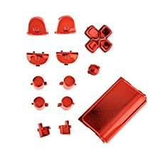 Replacement Chrome Plating Buttons and Touchpad for PS4 Controller-Red