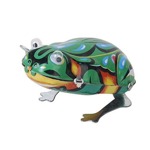 Fityle Vintage Wind-Up Metal Jumping Frog Animal Clockwork Tin Toy Collectible Gift