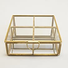 Silver Tree Square Decorative Glass Box with glass dividers & brushed brass finish frame