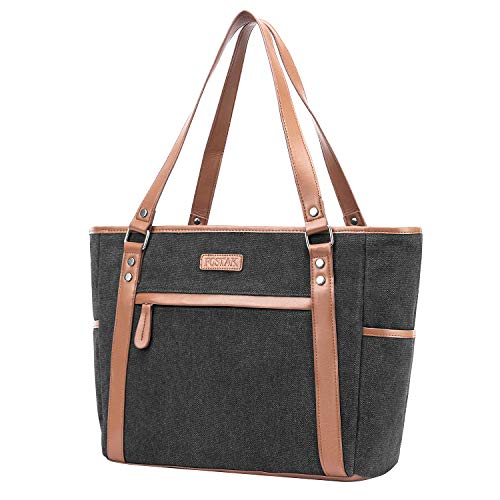 (Canvas Tote Bag,Womens Briefcase Computer Shoulder Bag fits 15.6 inch Laptop Large Capacity Durable Vintage Satchel Handbag Purse for Business College Shopping Travel Casual Use,Black)