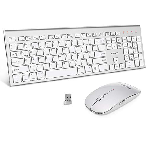Wireless Keyboard and Mouse Combo,FENIFOX Dual System Switching Double  Ergonomic Full-Size USB Whisper-Quiet Compatible with PC Desktop Computer  macOS