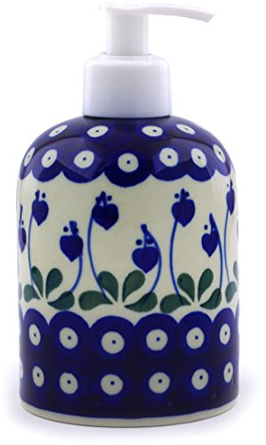 (Polish Pottery Soap Dispenser 5-inch Made by Ceramika Artystyczna (Bleeding Heart Peacock Theme))