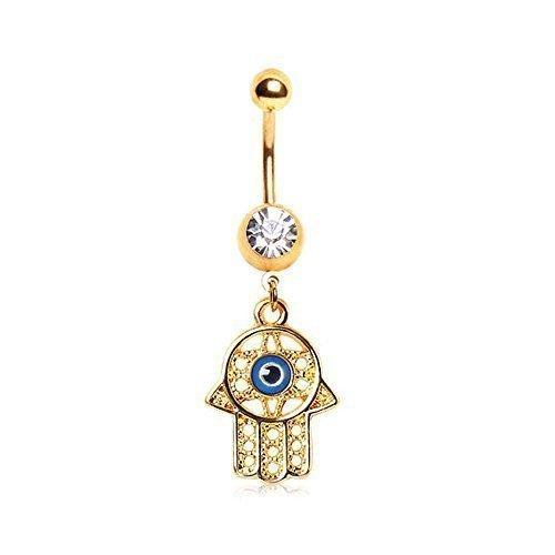 Gekko body jewellery piercing pour nombril avec pierres plaqué or compliquées et hamsa main tout voyants dangle œil