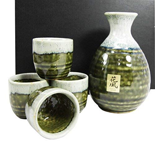 Japanese Glazed Earthenware 10oz Sandy Earth Art Sake Set Flask With Four Cups